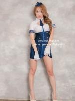 ชุดแอร์สีน้ำเงินขาวเซ็กซี่คอสเพลย์การ์ตูนญี่ปุ่น