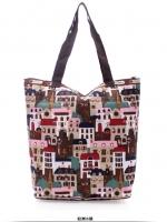 กระเป๋าสะพายผลิตจากผ้ากันน้ำได้ พิมพ์ลาย น้ำหนักเบา มีซิป ภาพจากสินค้าจริง สามารถพับเก็บได้