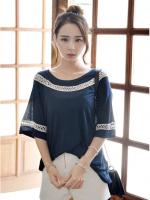 เสื้อแฟชั่นเกาหลี สีน้ำเงินผ้ายืดนิ่ม