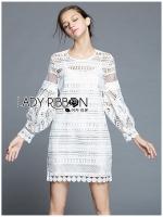 พร้อมส่ง ~ Lady Marion Classy Chic Mixed White Lace Dress
