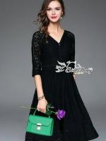 พร้อมส่ง ~ Sweet Bunny Present... Spot Lace Drape Dress