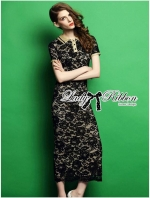 พร้อมส่ง ~ Lady Emily Sexy Elegant Lace Shirt Maxi Dress