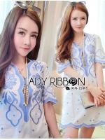พร้อมส่ง ~ Lady Rachel Summery Classic Blue and White Embroidered Dress