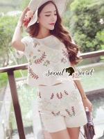 พร้อมส่ง ~ Seoul Secret Say's .... Pastel Flora Stick Curvly Tail Sweet Set