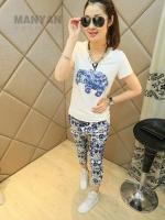 ชุดเสื้อ+กางเกง พิมพ์ลาย Korean fashion ladies printed suit.