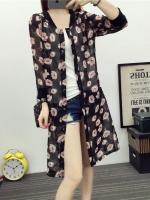 เสื้อคลุมแฟชั่นตัวยาว ผ้าชีฟองพิมพ์ลายดอกไม้ กระดุมด้านหน้า สีดำ