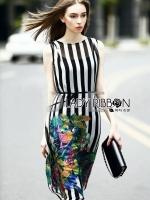 พร้อมส่ง ~ Lady Amanda Tropical Printed Striped Sleeveless Midi Dress