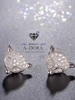 พร้อมส่ง ~ Fashion Animal Fox Stud Earrings งานเพชร CZ แท้ค่ะ