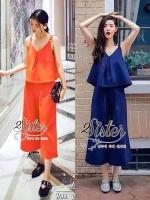 พร้อมส่ง ~ 2sister made, Navy & Orange Color Sexy Summer Beauty Set