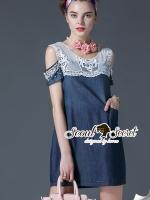 พร้อมส่ง ~ Seoul Secret Say's .... Pearly Ivory Furnish OpenShoulder Denim Dress