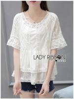 พร้อมส่ง ~ Lady Babara Sweet Vintage Lace and Cotton Blouse