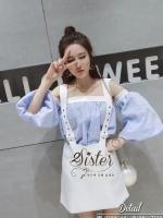 พร้อมส่ง ~ 2Sister made, Blue & White Lovely Sweet Elegant Korea Set