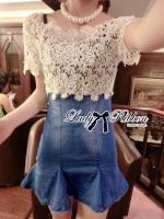 พร้อมส่ง ~ Lady Mariesa Lace Panelled Denim ,Mini dress