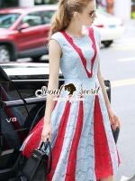 พร้อมส่ง ~ Seoul Secret Say's .... Parda Fashionist Blue-Red Layer Lace Dress