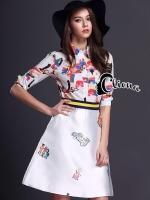 พร้อมส่ง ~ Luxury Tropical Siam Multicolor Shirt + Skirt Set