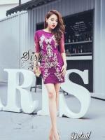 พร้อมส่ง ~ 2Sister Made, Vintage Korea Purple Golden Dress