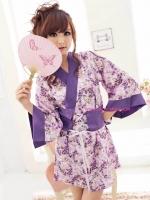 ชุดยูกาตะสั้นสีม่วงสวยสไตล์การ์ตูนญี่ปุ่น