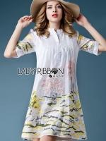 พร้อมส่ง ~ Lady Lauren Minimal Chic Embroidered Cotton Shirt Dress