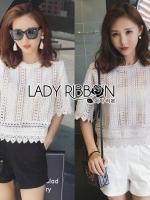 พร้อมส่ง ~ Lady Leena Basic Lace and Crochet Cropped Top