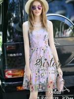 พร้อมส่ง ~ 2Sister made, Sweet Color Dress with Sparkling Cuties Flora Lace