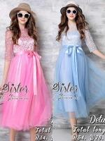 พร้อมส่ง ~ 2Sister made, Blue & Pink Colorful Style Lady Flora Dress