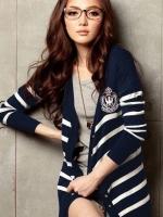 เสื้อคลุมไหมพรมสไตล์นักเรียนญี่ปุ่น สีน้ำเงิน