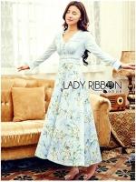 พร้อมส่ง ~ Lady Elle Vintage Feminine Floral Printed Blue Dress
