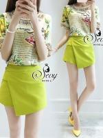 พร้อมส่ง ~ Sevy Two Pieces Of Bible Short Sleeve With Lemon Skirt Sets