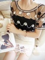 เสื้อผ้าแฟชั่น ซีทรู ลวดลายตามภาพ สีดำ มีภาพงานขายจริง*