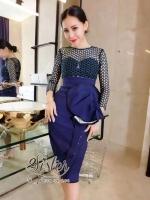 พร้อมส่ง ~ 2Sister Made, Green Lace with long sleeve & Blue Korea Design Skirt