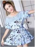 พร้อมส่ง ~ Lady Cate Sweet Feminine Off-Shoulder Knitted Floral Printed Mini Dress