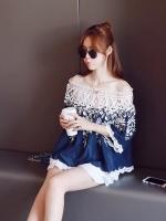 เสื้อแฟชั่นเกาหลี ผ้าฝ้ายปักลายดอกไม้ ตัดต่อคอเสื้อผ้าลูกไม้ สีน้ำเงิน