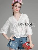 พร้อมส่ง ~ Lady Emily Sweet Scallop Laser-Cut and Embroidered Cotton Top