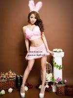 ชุดกระต่ายสีชมพูประดับขนนกน่ารักมุ้งมิ้งสไตล์คอสเพลย์แฟนซี