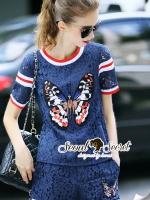 พร้อมส่ง ~ Seoul Secret Say's .... Navy Lace Butterfly Stivk Chic Set