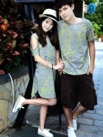 ชุดคู่รัก ชาย+หญิง short-sleeved T-shirt lovers