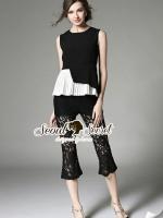 พร้อมส่ง ~ Seoul Secret Say's... Nifty Nite Laura Black Lace Pleat set