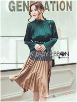 พร้อมส่ง ~ Lady Jamie Super Chic and Elegant Color-Blocking Pleated Dress สำเนา