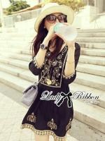 พร้อมส่ง ~ Free People Black Bohemian dress gold deco