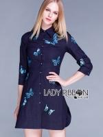 พร้อมส่ง ~ Lady Grace Sweet Feminine Butterfly Embroidered Denim Shirt Dress