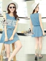 พร้อมส่ง ~ Sevy Two Pieces Of Sweet Layer Denim Sleeveless Shirt With Mini Skirt Sets
