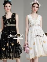 พร้อมส่ง ~ Seoul Secret Say's .... Goldy Sequinny V Party Dress