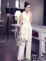 พร้อมส่ง ~ 2Sister made, Sweet White Elegant Korea Jumpsuit