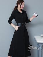 พร้อมส่ง ~ Cliona made'2016 Autumn Black Long Shirt Dress