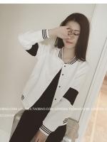 เสื้อคลุม แจ๊คเก็ต สไตล์เบสบอล ผ้าลื่นเนื้อหนา สีขาว