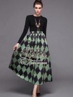 พร้อมส่ง ~ 2Sister Made, Western Style Set with Green Dark Pattern