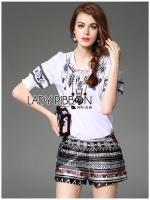 พร้อมส่ง ~ Lady Annie Tribal Chic Embroidered Top and Shorts Set