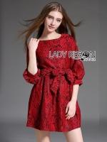 พร้อมส่ง ~ Poppy Stunning Chic Party Scarlett Red Lace Dress