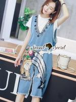 พร้อมส่ง ~ Seoul Secret Say's... Chic Cinderella Sequinny V Denim Dress