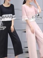 พร้อมส่ง ~ Sevy Two Pieces Of Lace Stripe With Wide Pants Sets